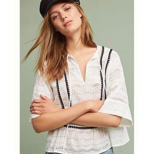 Anthropologie Nu Construction Porto Eyelet Top